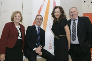 From L to R: Prof Máire Messenger Davies, conference organizer, University of Ulster: Dr. James Nesbitt, Chancellor University of Ulster; Prof Deirdre Heenan, Provost Magee Campus, University of Ulster; Prof Martin McLoone, conference organizer, University of Ulster