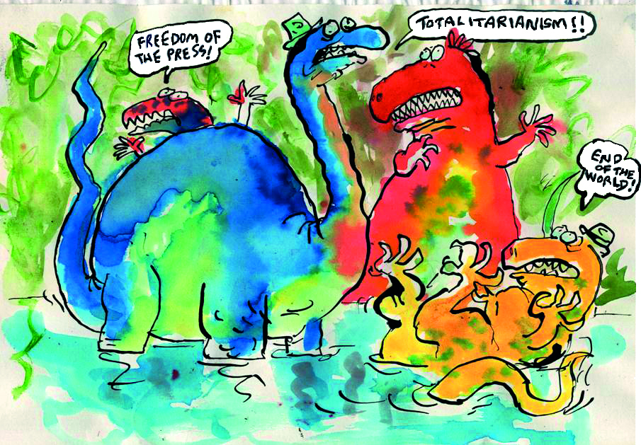 The Fleet Street dinosaurs: how cartoonist Tim Sanders drew them for the CPBF magazine Free Press