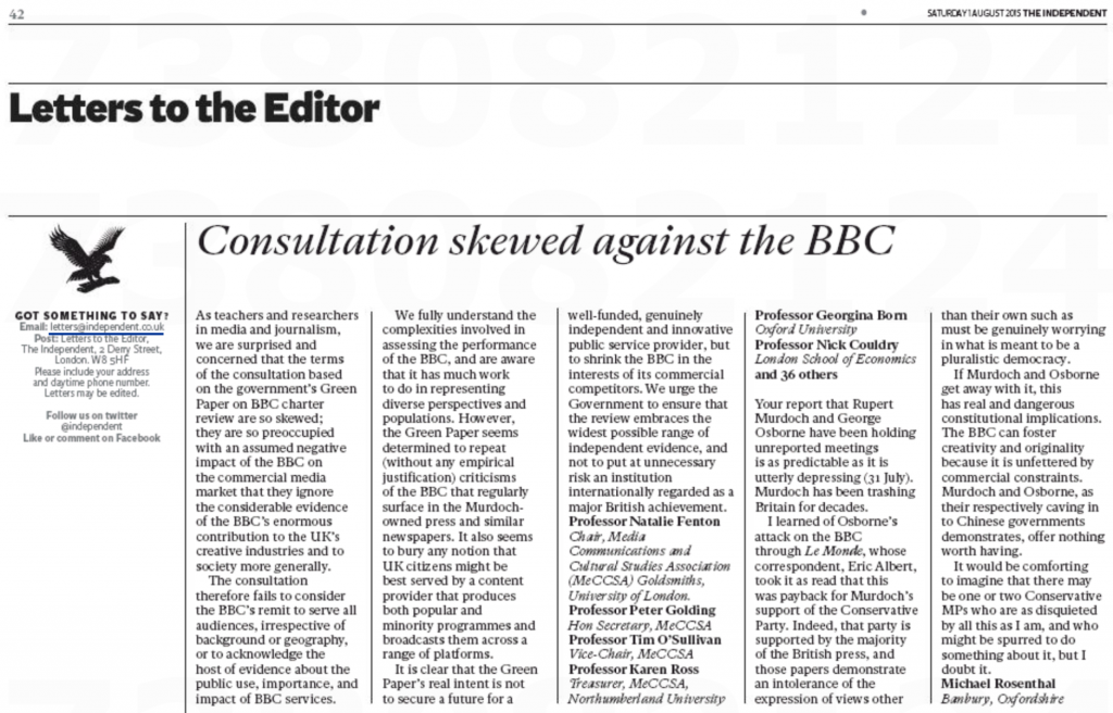 BBC Charter Review Letter in the Independent