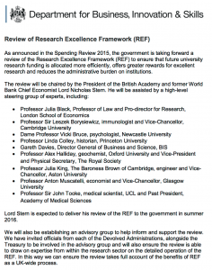 Research Excellence Framework review: terms of reference