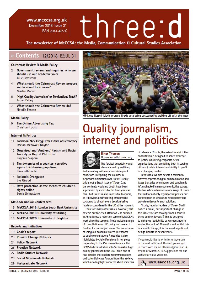 Three-D: MeCCSA's newsletter – MeCCSA